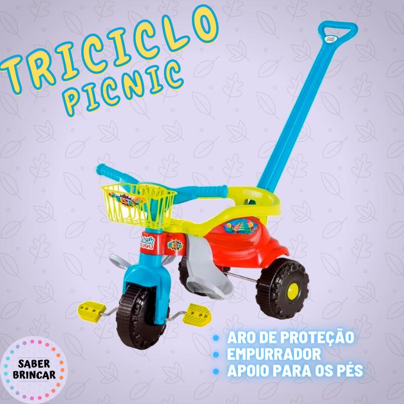 ✨ Triciclo PIC NIC FESTA- Aro de Proteção, Empurrador