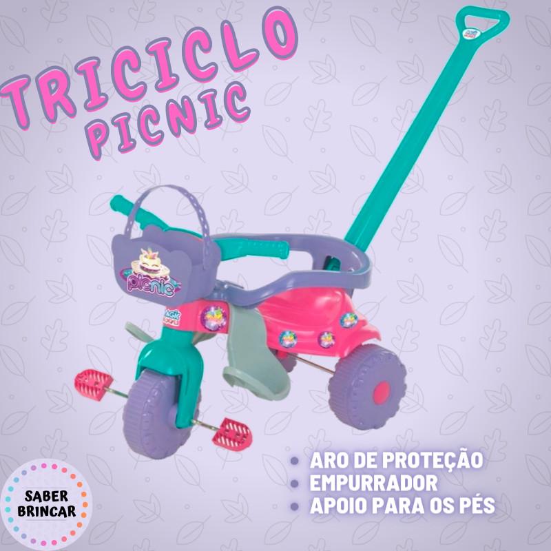 ✨ Triciclo PIC NIC ROSA- Aro de Proteção, Empurrador