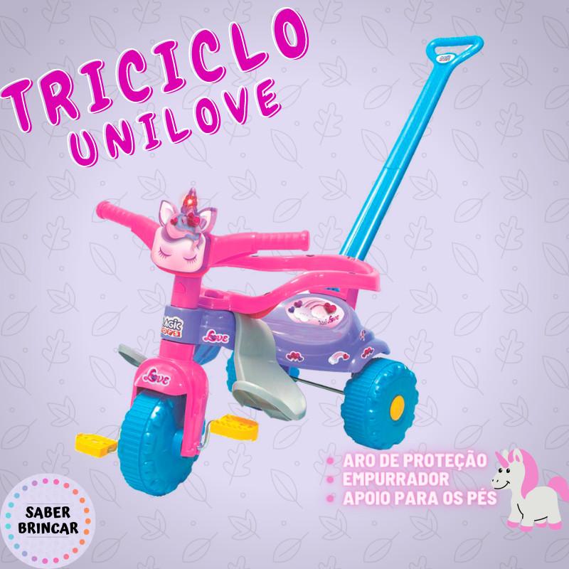 ✨ Triciclo UNI LOVE- Aro de Proteção, Empurrador e Luz